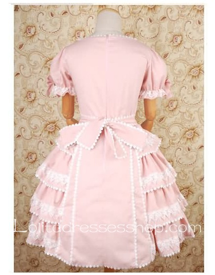 Pink Straight Neckline Short Sleeve Sweet Lolita Dresses With Side draped Style