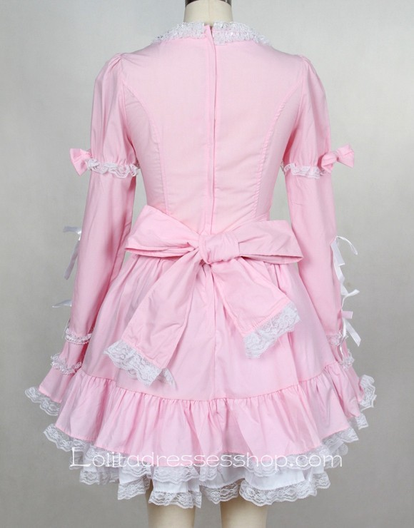 Knee-length Pink/Black High Neckline Cotton Gothic Lolita dress With Under Layer Style