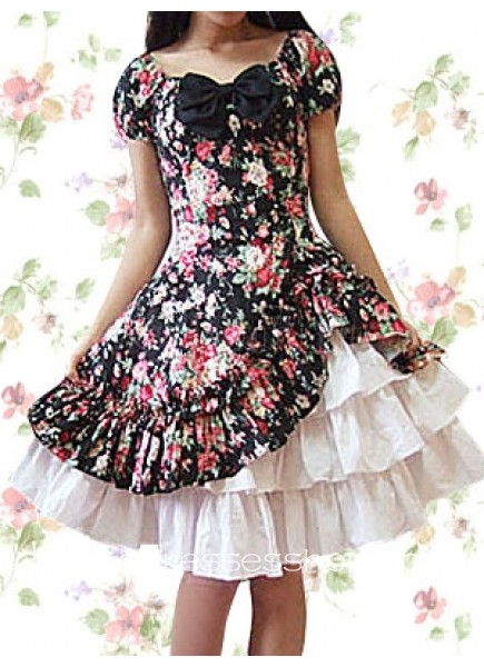 020da2d0335b Knee-length Cotton Square Short Sleeves Natural Country Lolita Dress With  Tiers