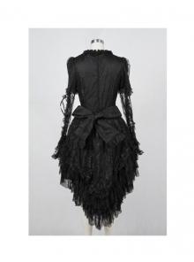 652b415675e White Cotton Round Neckline bell sleeves multi-layered flounced kuro gothic  lolita dress (Black