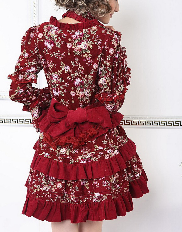 Red Cotton Square-collar Long Separable Sleeves Bow Gothic Lolita Dress