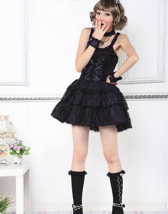 Red Cotton Square-collar Sleeveless multi-layered strapped plaid cotton camisole Lolita dress