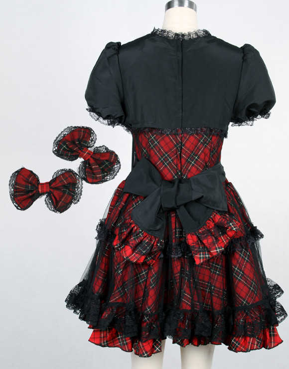 52a5d63da14 Red Cotton Square-collar Short Sleeve Bow Gothic Lolita Dress(Purple  available)