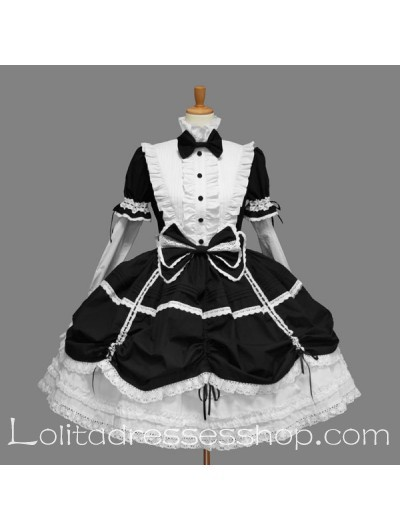 Black and White Cotton High Collar Short Sleeves Classic Lolita Dress