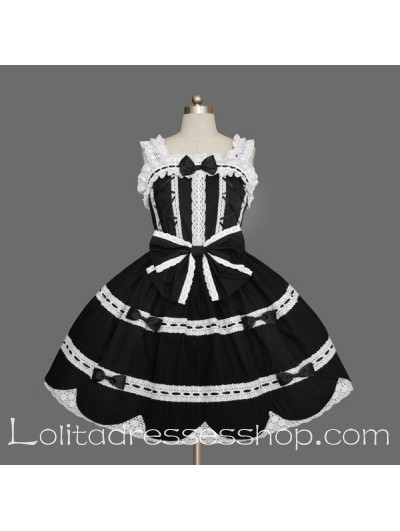 Black and White Cotton Scoop Sleeveless Lace Gothic Lolita Dress