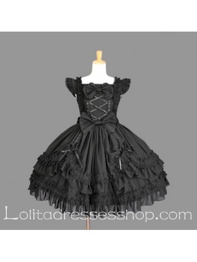 Short Black Cotton Scoop Cap Sleeves Bow Gothic Lolita Dress