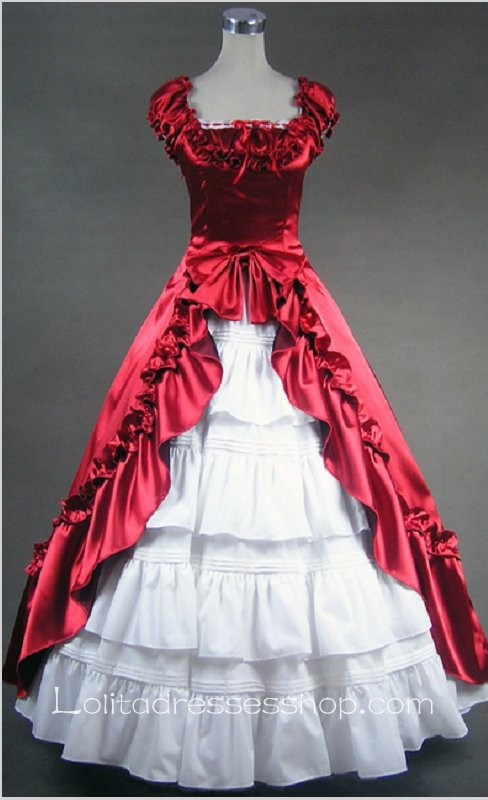 Red And White Cotton Square-collar Cap Sleeve Floor-length Pleats Bowknot Gothic Lolita Dress