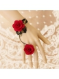 Black With Red Flowers Gothic Lace Lolita Bracelet