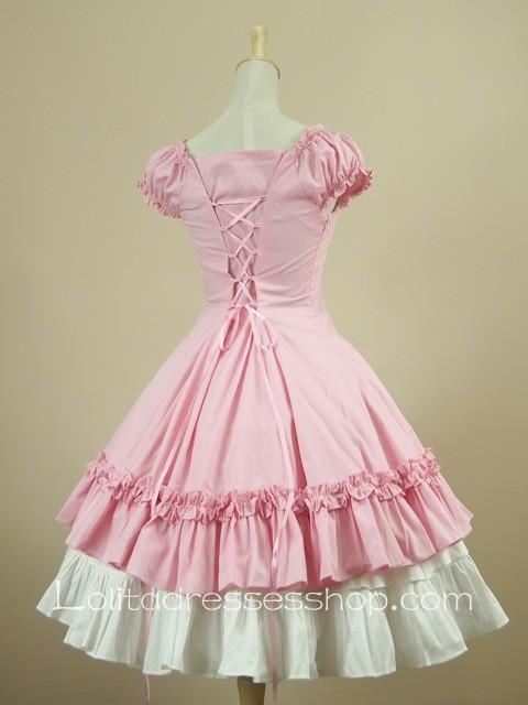 Cheap Pink Sweetheart Puff Sleeves Knee Length Ruffles