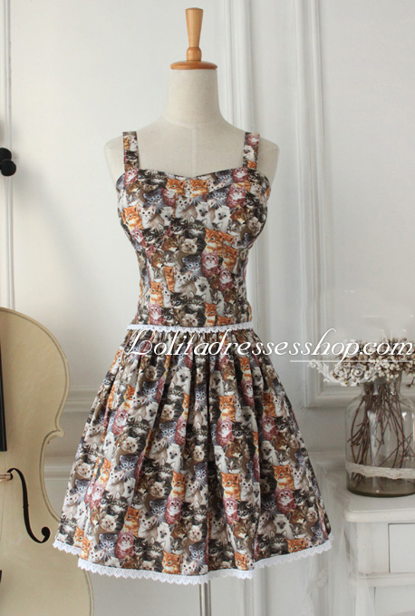 Cat Printed Cotton Straps Sleeveless Lace Trim Fashion Lolita Outfits