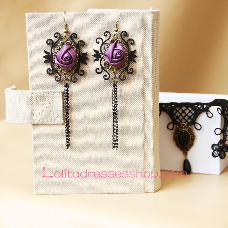 Lolita Goblin Tribe Purple Rose Retro Archaize Earring