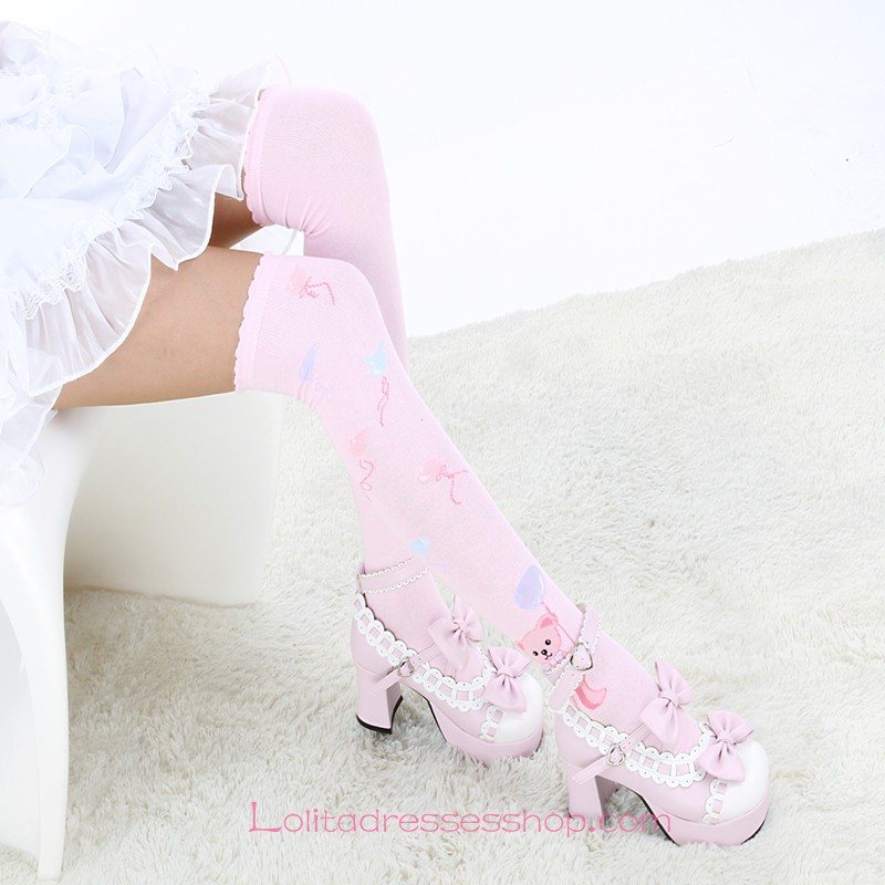 Lovely Bear Pattern Pink Fashion Knee Stockings