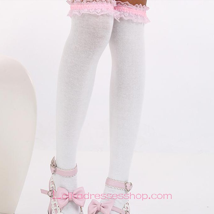 Lovely White Fashion Pink Purfle Sweet Lolita Knee Stockings
