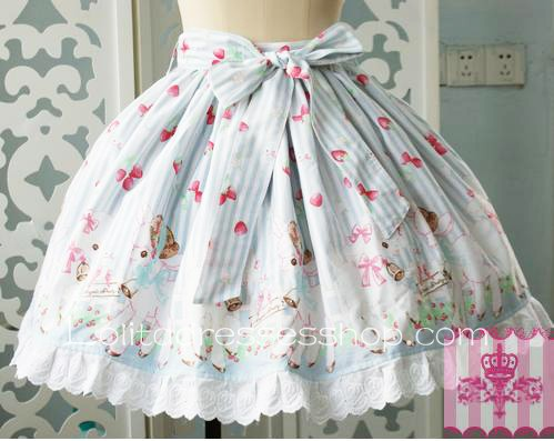 Cheap Skyblue Puff Flounce Hem Bow Ship Garden Pattern Lolita Skirt ...