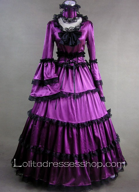 Cheap Gothic Victorian Elegant Purple Satin Black Lace Decoration ...