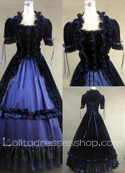 Gothic Victorian Graceful Square Ruffled Collar Ball Gown Lolita Dress
