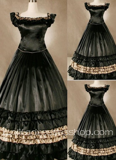 Gothic Victorian Superb Ruffled Black Long Simple but Noble Lolita Dress