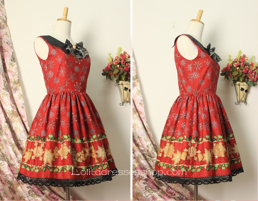 Christmas vintage lovely doll collar lace trim sweet lolita dress