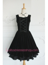 Elegant Plain Black Cotton Square Neck Sleeveless Gothic Lolita Dress