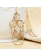 Sweet Golden Metal Leaf with Tassel Lolita Earring