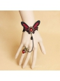 Black Lace Nonwoven Butterfly with Pearls Lolita Bracelet