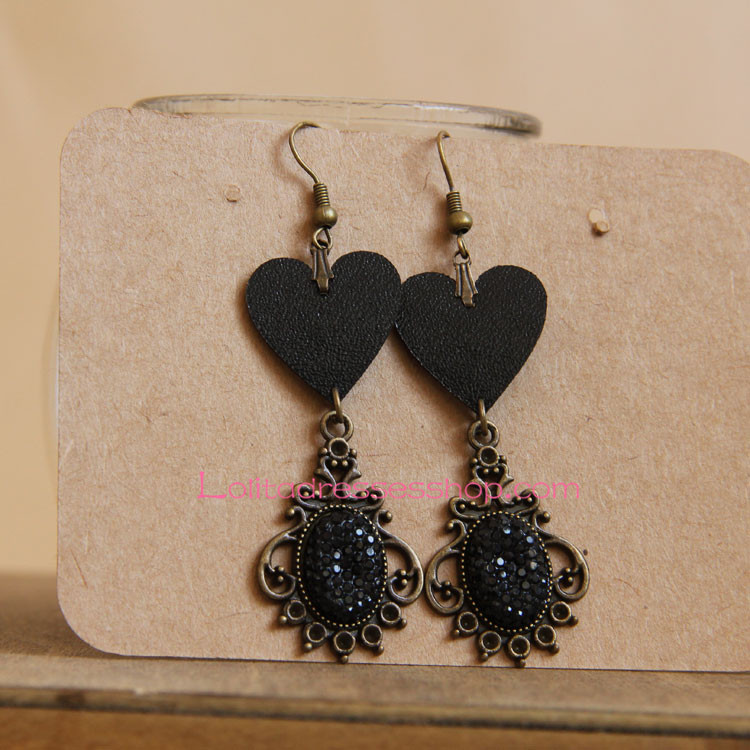 Vintage Black Leather Heart with Diamond Lolita Earring