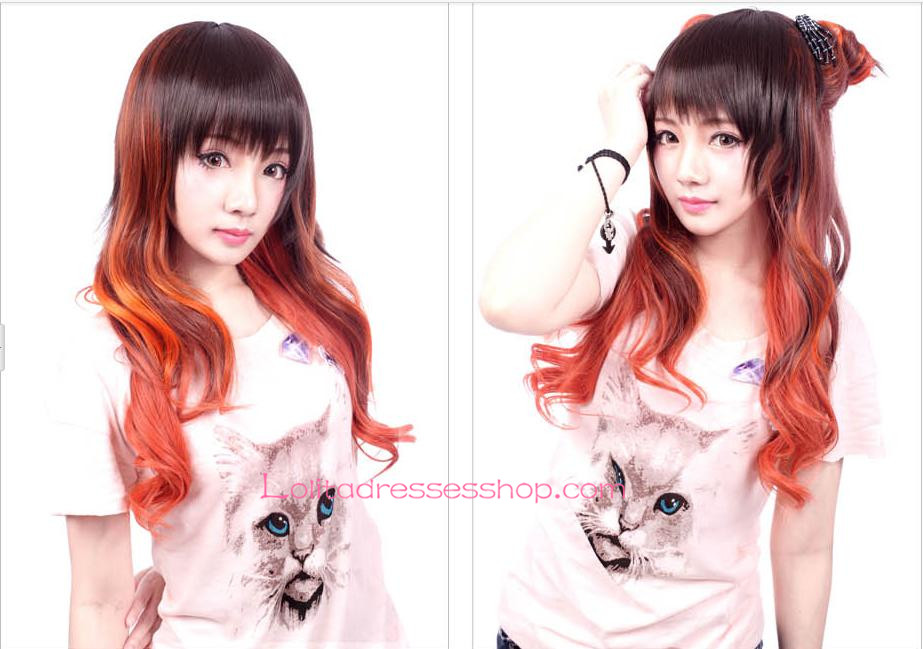 Lolita Brown and Orange Slightly Curled Cosplay Wig
