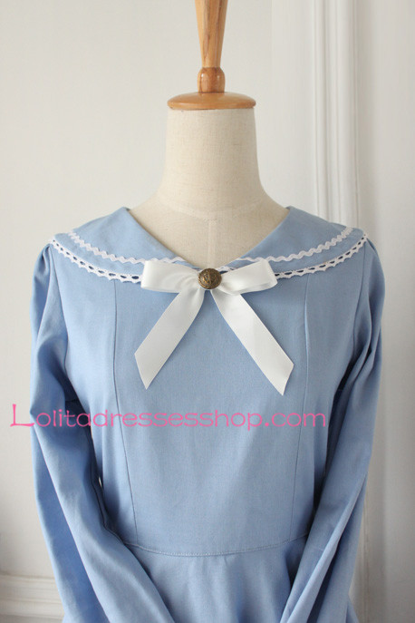 Sweet Light Blue Cotton Doll Collar Long Sleeves Sailor Lolita Dress