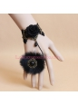 Black Lace and Fox Wool with Rose Pearl Lolita Bracelet