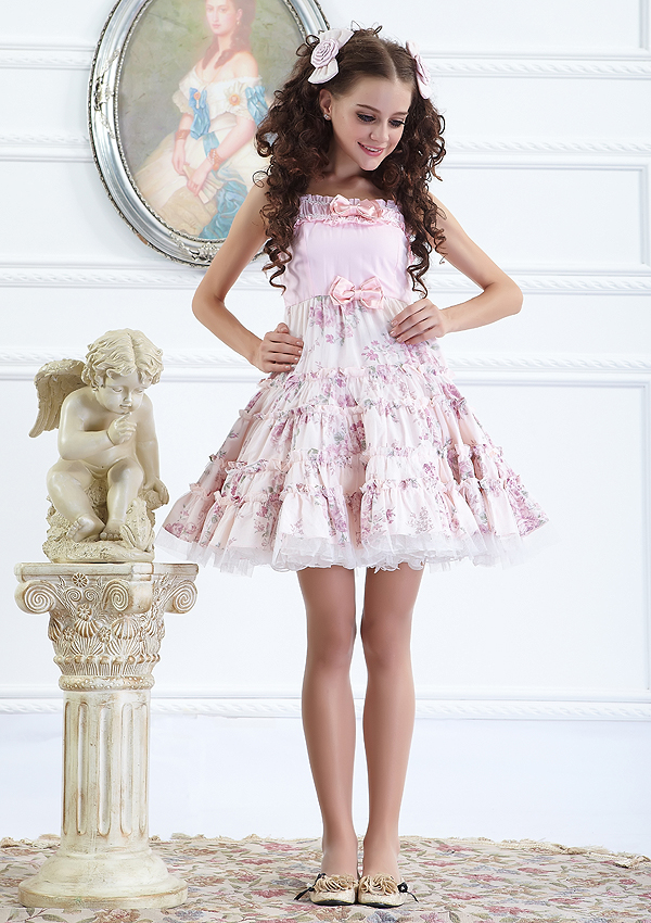 Small Fresh Pink Floral Strapless Fashion Lolita Dress