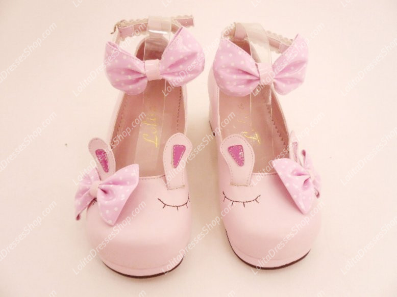 Muffin Bottom Buckle Rabbit Ears PU Sweet Lolita Shoes