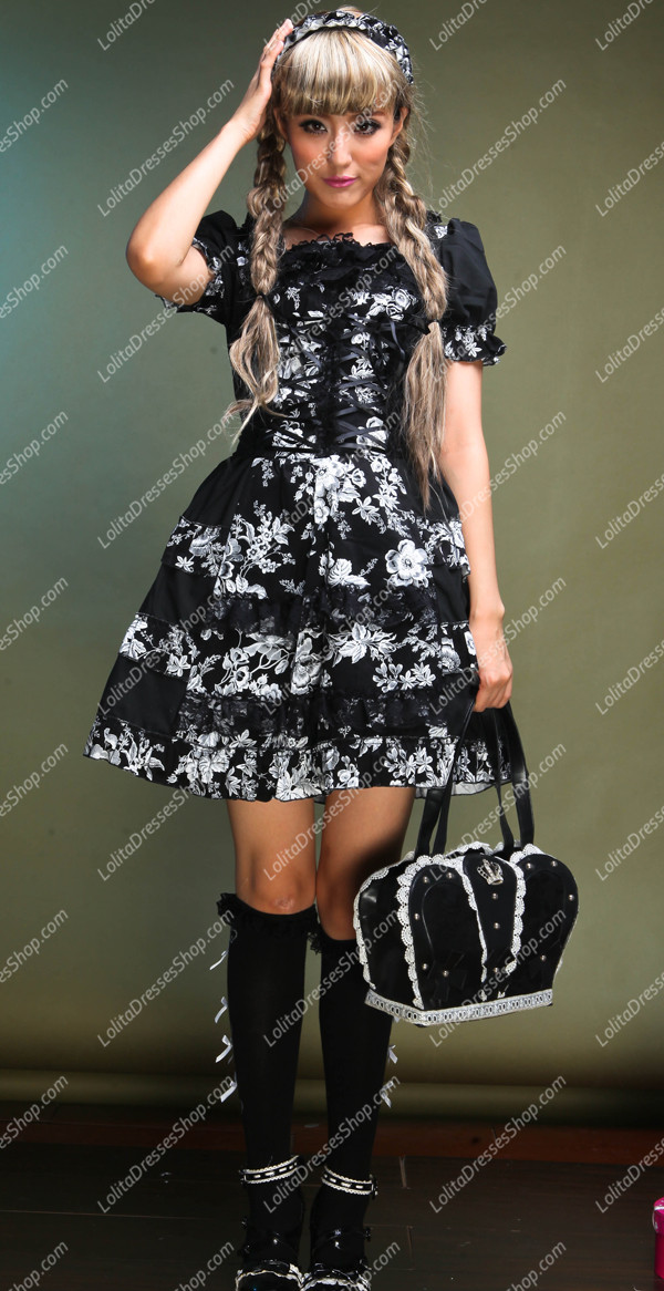 Idyllic Black Short-sleeved Floral Punk Lolita Dress