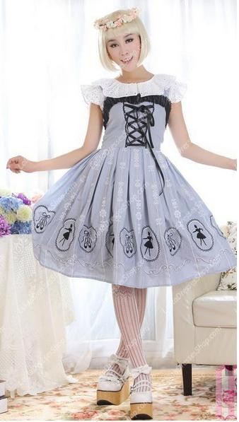 Light Gray Straps Ballet Printing Embroidery Sweet Lolita Dress