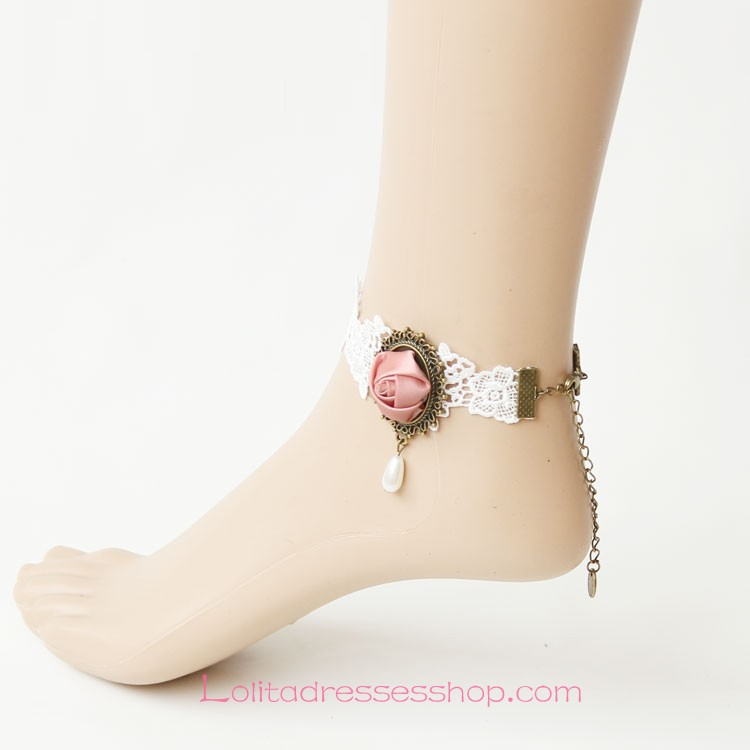 Lolita Sweet Pearl White Lace Flower Foot Jewelry