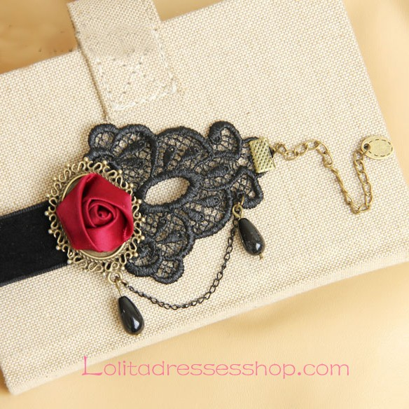 Lolita Gothic Lace Velvet Ribbon Rose Pearl Chain Fashion Foot Jewelry