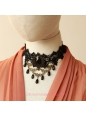 Lolita Black Retro Fashion Lace Pearl Necklace
