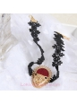 Lolita Fashion Leopard Head Black Lace Necklace