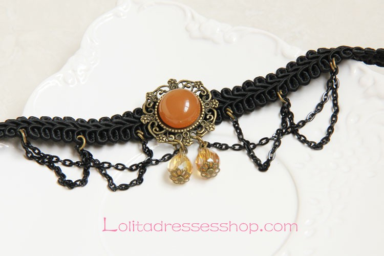 Lolita Artificial Crystal Palace Retro Black Lace Necklace