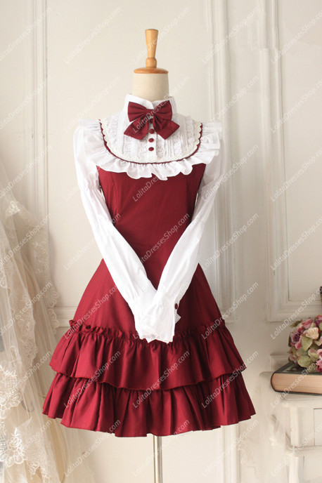Cheap Red And White Doll Collar Long Sleeves Flouncing