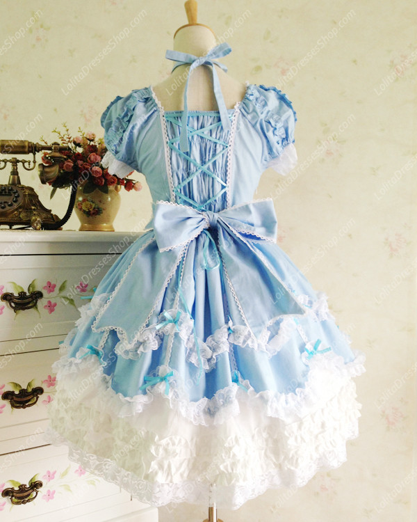 Sweet Cotten Vintage Lace Party Prom Short Sleeve Lolita Dress