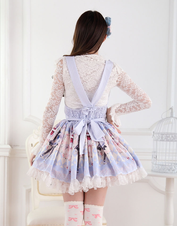 Sweet Lace Princess Strap Blue Rose Print Twins High Waist Sweet Lolita Dress JSK