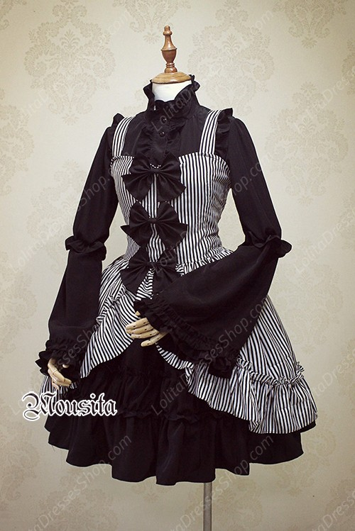 Black Sweet Chiffon Gothic Long Sleeve Mousita Lolita Shirt