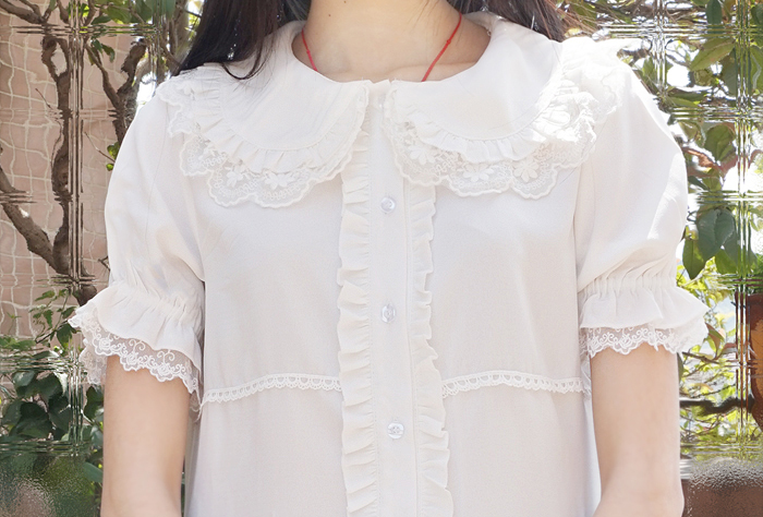 Chiffon Lace Lotus Leaf Doll Collar Short Sleeve Lolita Blouse