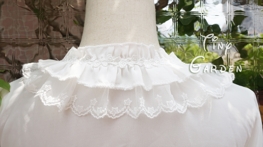 Chiffon Lace Double-deck Lotus Leaf Round Collar Short Sleeve Lolita Blouse