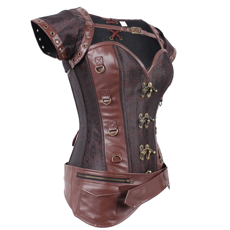 Brown Brocade Overbust Steampunk Corset With Jacket