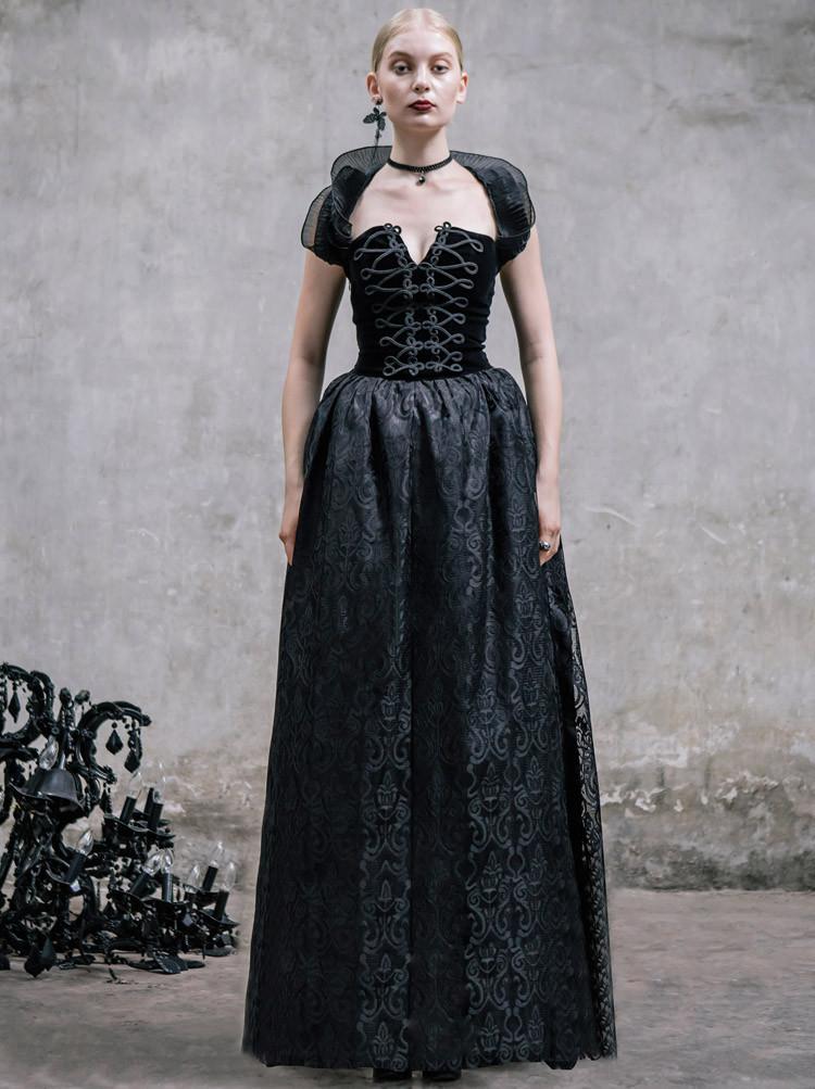 Cheap Romantic Black Gothic Halter Corset Prom Dress Sale ...