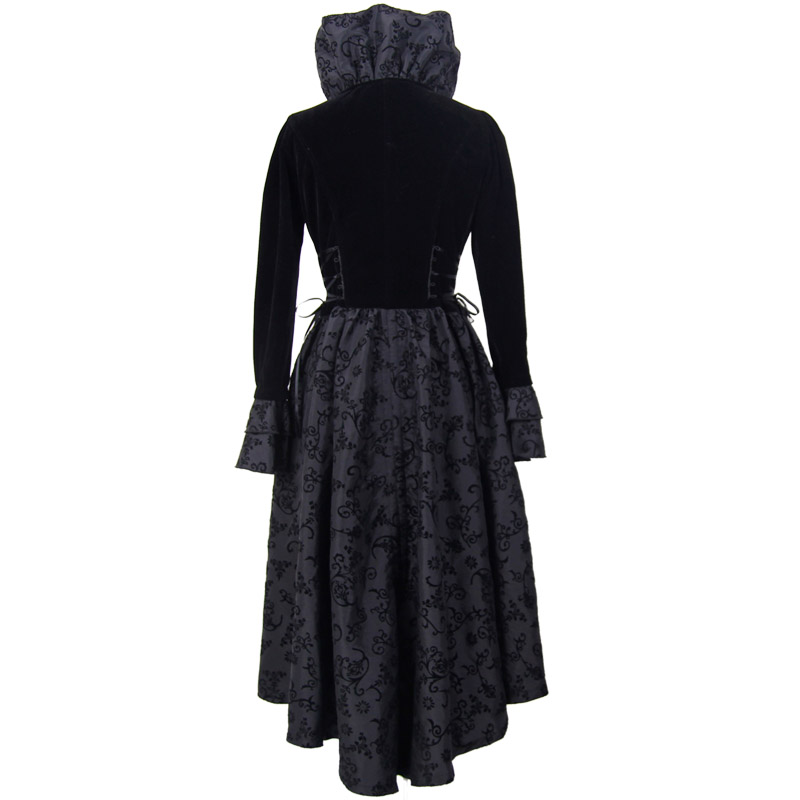 Black Punk Fashion Vintage Slim Windbreaker Dress