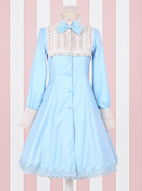 Retro High Waist Little standing collar Classic Lolita Long Sleeve Dress