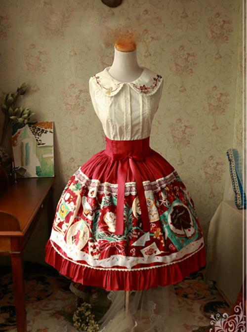 Magic Tea Party Sweet Christmas Series Printing Lace Sweet Lolita Skirt