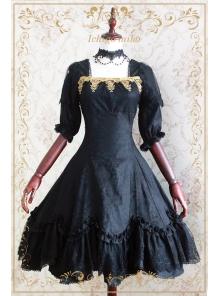 808b96b5452e Devil Rose Vintage Black Printed Strawberry Witch Lolita OP Dress